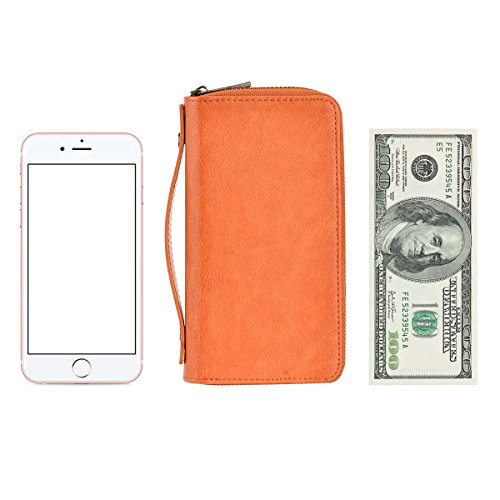 Size Phone for Dual Big Long Orange Smart Woman PU Clutch With for Premium HAWEE Card Zippered Purse Strap Wallet Coin Cash 5wqF6A4