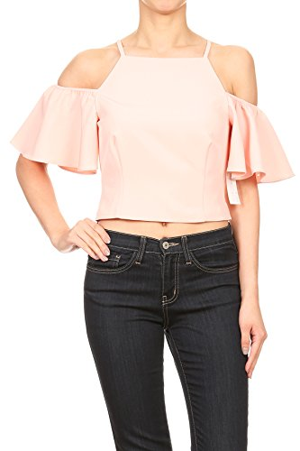Color Era Sophisticated high square necked cropped tank top with feminine cold shoulder detail (Small, Blush)
