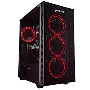 Periphio Red Gaming PC Tower Desktop Computer, Intel Quad Core i7 3.3GHz, 16GB RAM, 500GB SSD + 1TB 7200 RPM HDD…