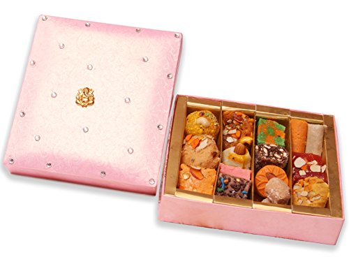 Sukhadia's Indian Sweets Gift Box, Festive Pink Ganesh Box, Premium Assorted Mithai, 20oz