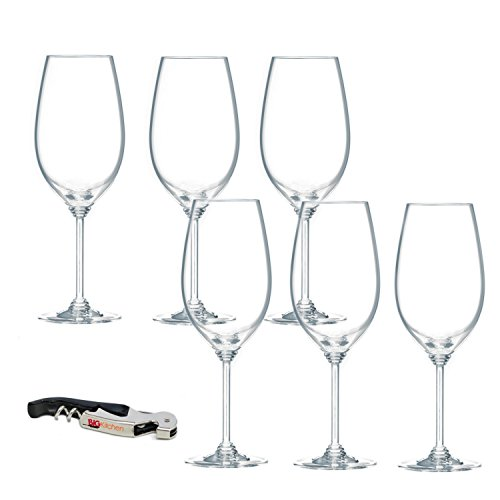 Riedel Wine Series Crystal Syrah/Shiraz Wine Glass, Set of 6 with Bonus BigKitchen Waiter's Corkscrew ()