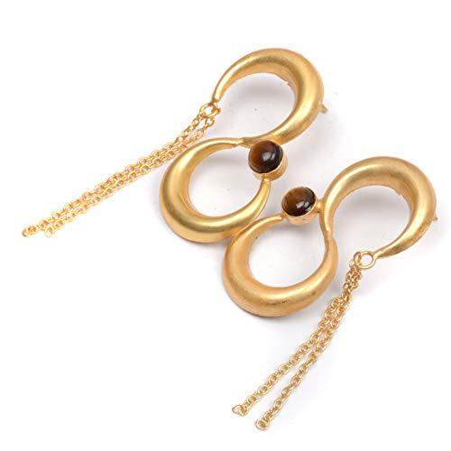 Nimbark Wonderful Tiger Eye Vermeil Handmade Jewelry Earring 3''