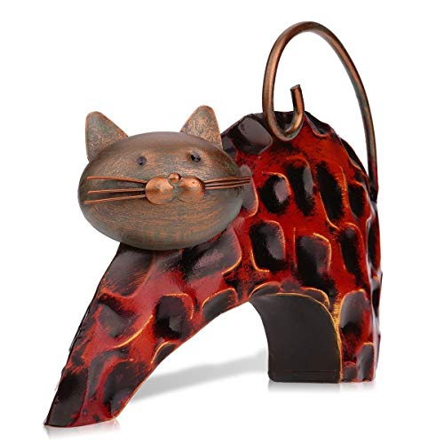 Tooarts Lazy Cat Animal Metal Sculpture Iron Statue