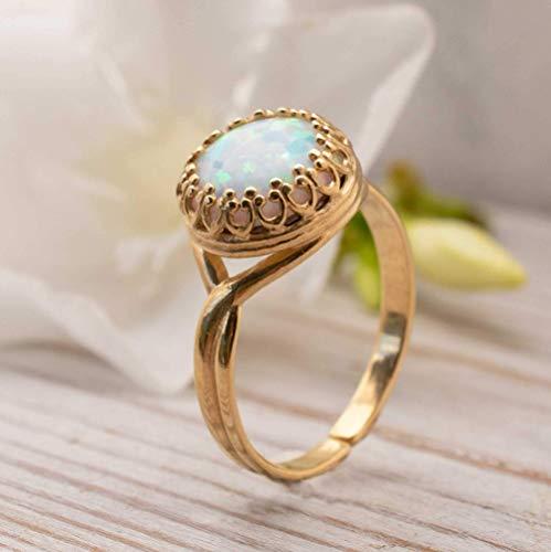October Birthstone Handmade Opal Ring 14th Anniv Gem Rustic Silver Opal Ring from Lightning Ridge LIBRA Star Stone