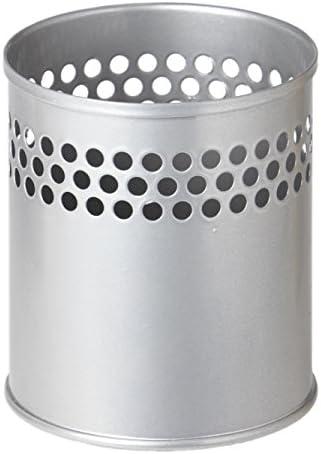 Stifteköcher aus Metall, ca. Ø 9 cm, Höhe 9.5 cm, silber