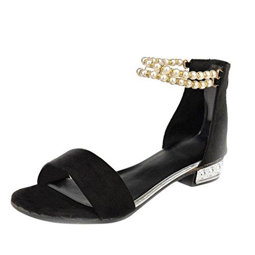 Kaiki Frauen flache Schuhe String Perlen Böhmen Damen Sandalen Peep-Toe Outdoor Schuhe Black