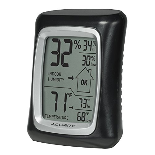 Acu Rite Plastic Thermometer - AcuRite 00325 Indoor Thermometer & Hygrometer with Humidity Gauge, Black, 0.3,