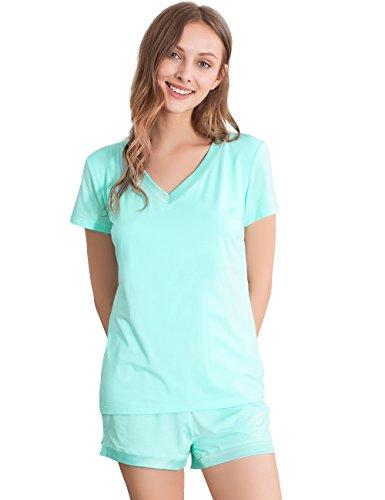 (NEIWAI Women's Short Sleepwear Pj Set V Neck Bamboo Pajama Set Aqua Green 2X)
