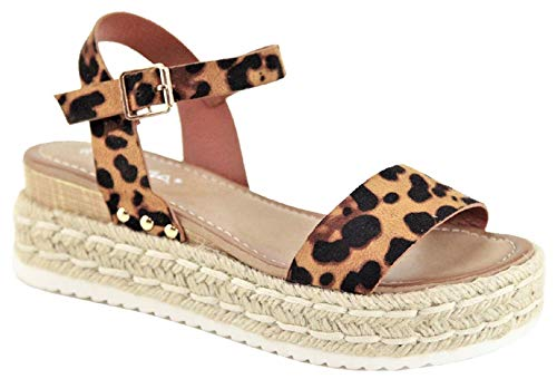 Women Flatform Platform Espadrille Mary Jane Strap Open Toe Sandal Wedge Leopard Animal Print Bessy-10 (Mary Animal Print Janes)