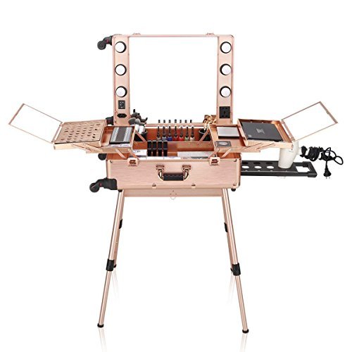 Ovonni LED Makeup Train Case, Lighted Rolling Travel Portable Cosmetic Organizer Box with Mirror & 4 Detachable Wheels, Professional Artist Trolley Studio Free Standing Workstation, Rose Gold (Travel Vanity)