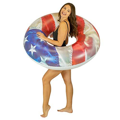 "Poolcandy Stars & Stripes Pool Tube 48"" - American Flag Swim Ring"