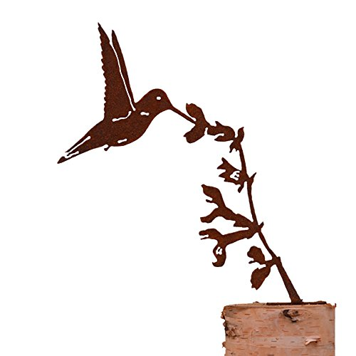 Elegant Garden Design Upright hummingbird on Salvia Flower, Steel Silhouette with a Rusty Patina