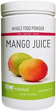 Nubeleaf Mango Juice Powder - Non-GMO, Gluten-Free, Raw, Vegan Source of Fiber & Vitamins A, C, B6 - Nutrient Rich Superfood for Cooking, Baking, Smoothies (14oz)