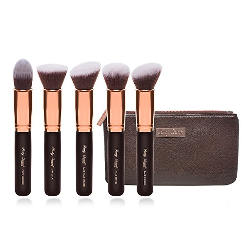 Party Queen Premium Makeup Brush Set Classic 5Pcs Rose Golden Face Kabuki Brush Cosmetic Kit + Luxurious Coffee Leather Case- Supreme Quality For Flawless Beauty