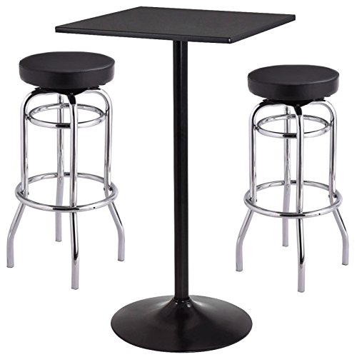 Set of Bar Table 2 Barstools Backless Seat Swivel Stools Pub Bar Kitchen Home Office Furniture/ Black - Bellevue Wa Square