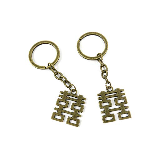 100 Items Keychain Keyring Key Tags Chains Rings Jewelry Bag Charms X0BQ1 Double Happiness ()