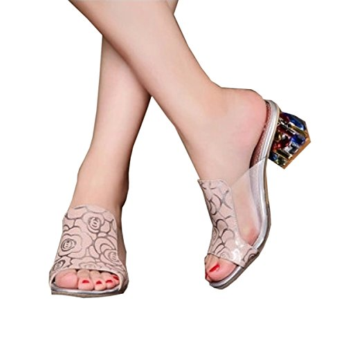 DFB Sandals Slippers Korean Leather Rhinestones With Ladies Rough With Big Size Women's Shoes Crystal Slippers For Women,Pink-40