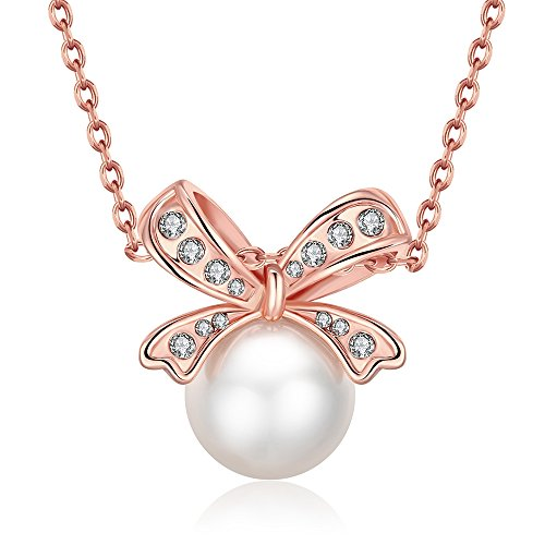 Alan M. Arevalo Elegant Womens Fashion Knot Pendent Necklace with Studded Cubic Zirconia Stones