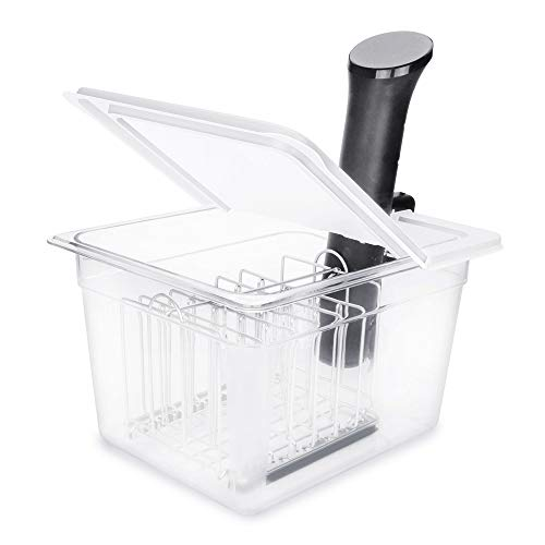 EVERIE Sous Vide Container 12 Qt with Collapsible Hinged Lid and Rack, Compatible with Anova Nano and AN500-US00 and Instant Pot, SET-12-NANO-PP