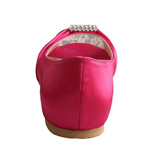 Wedopus Mw1361 Strass Nozze Peep Toe Donna Ballerine Fibbia In Raso Scarpe Da Sposa Fucsia