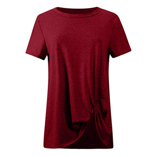 iCJJL Blouse for Women Solid Short Sleeve O Neck Twist Knotted Tops