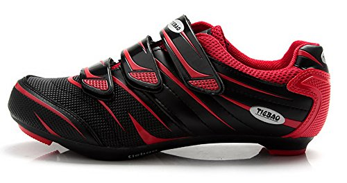 Tiebao Road Cycling Shoes Lock Pedal Bike Shoes Cleated Bicycle ciclismo Shoes Red 44 (Mens Red Bike Shoes)