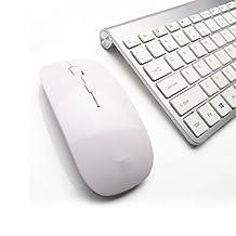 Morrivoe Ultra-thin Mini Wireless Keyboard Suit 2.4 G Wireless Keyboard 78 Keys + Free 1600-1200-800 DPI Mouse for Laptop,Computer PC,Smart TV, Silver