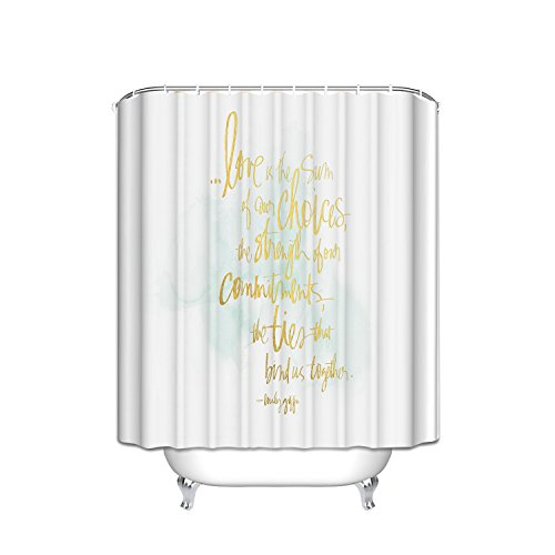 ATOLY Yellow Letter Crossed Linesshower Curtain Geometric Print Decor, Stripes Design, Polyester Fabric Bathroom Shower Curtain Set with Hooks, 72X84Inches]()