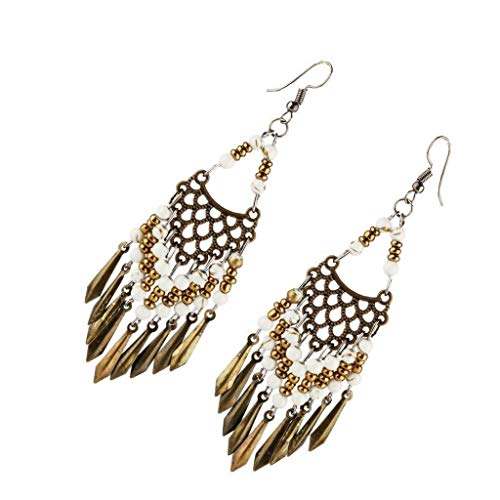 (Statement Long Beads Leaves Shaped Tassel Dangle Earring Hook Ethnic Earring Necklace Jewelry Crafting Key Chain Bracelet Pendants Accessories Best| Color - White)