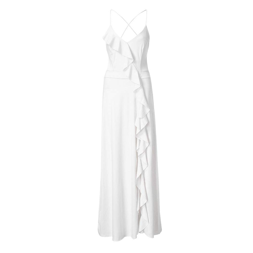 ZOMUSAR 2019 Fashion Women's Fashion Solid Sexy Ruffle Blackless Sleeveless Irregular Dress White by ZOMUSAR (Image #4)