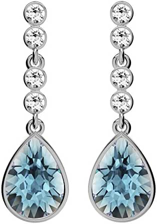 Glimmering Genuine Swarovski Elements Crystals Designer Dangle Earrings for Women and Girls