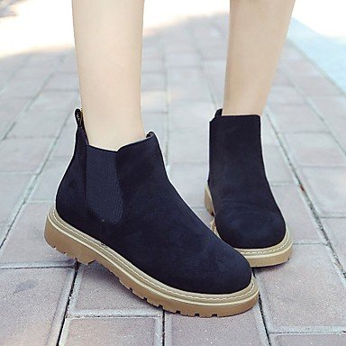 RTRY Women's Shoes Flocking PU Leatherette Fall Comfort Fashion Boots Combat Boots Boots Flat Heel Round Toe Mid-Calf Boots Gore For Casual US7.5 / EU38 / UK5.5 / CN38 yISXf