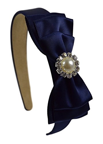 Center Navy (Satin Layered Bow Girls Arch Headband with Jeweled Pearl Center (Navy Blue))