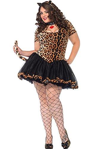 [Leg Avenue Women's 2 Piece Tabby Keyhole Tutu Dress, Leopard, 1X-2X] (Sexy Leopard Costumes)