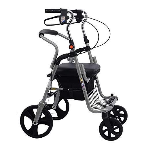 SHOWGG Caminador de Aluminio Ajustable Plegable Ligero, Carretilla, plegamiento Viejo de la Vespa de Compras, Carro de Cuatro...