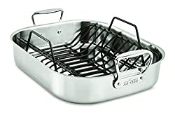All Clad E752c264 Stainless Steel Dishwasher Safe Large 13 Inch X 16 Inch Roaster With Nonstick Rack Cookware 16 Inch Silver