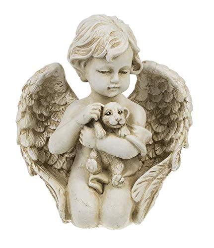 Red Cherubs - Red Co. Baby Angel Cherub Holding Puppy Dog - Indoor or Outdoor Garden Polystone Pet Memorial Statue Figure - 7
