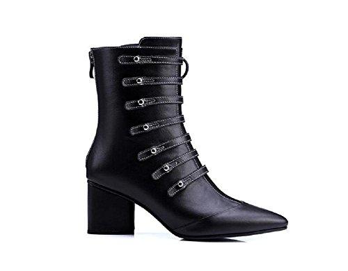 Stivali moda pizzo tacchi alti Scrub Stivali con fibbia donne del cuoio genuino Stivaletti Scarpe , 1# , 37