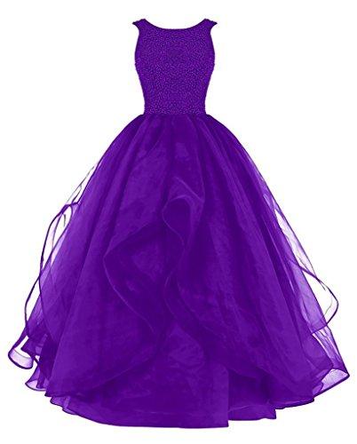 Chellen Sexy Dos Nu Longue Robe De Bal Robe De Perles Demoiselle D'honneur Organza Asymétrique C029 Violet