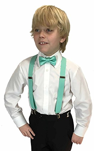 Green Boys Strap - Spencer J's Boys X Back Suspenders & Bowtie Set Variety of Colors (Mint)