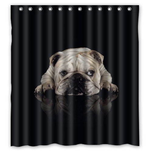 Homeu0026Family Waterproof Fabric Bathroom Shower Curtain With Hooks Funny Dog  Bulldog Print Design 66 ...