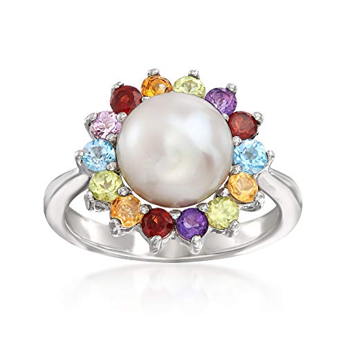 Ross-Simons 9-9.5mm Cultured Pearl and .49 ct. t.w. Multi-Gemstone Ring in Sterling Silver ()