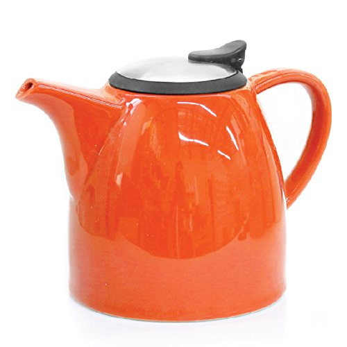 Tealyra Drago - Ceramic Teapot with Infuser Strainer - Drip-Less Spout - Lead & BPA Free - High-Fired Ceramic - Dishwasher Safe - Stainless Steel Lid - Orange (37oz / 1.1L)