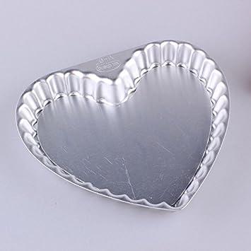 Molde forma de corazón de aluminio me-direct Quiche Tart Base extraíble (3 4