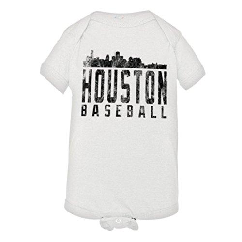 PleaseMeTees Baby Houston Baseball Distressed Astros Skyline HQ Jumper-Wht-18M