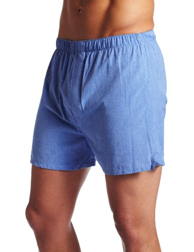 Majestic International Men's Basic Cotton Boxers, Blue, 34