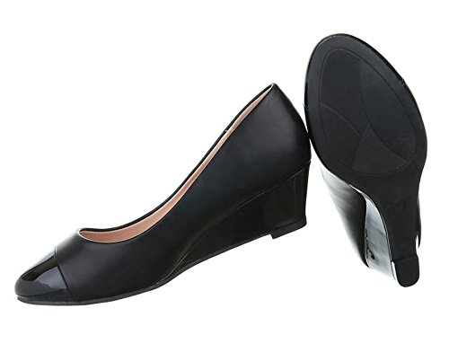 Damen Pumps Schuhe Elegant High Heels Keil Wedges Schwarz