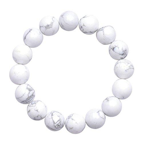Jan Dee Natural Genuine Semi-Precious Healing Power Magnesite Crystal Bracelet Elastic (Semi Magnesite Precious)