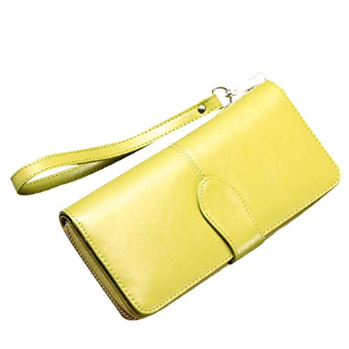 Clutch Long Wallet Lemon Girlish Beaums Polished Purse Holder Card Synthetic Zip Handbag Yellow Leather Antique Women RvzPqnU
