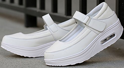 Women's Strap Sneaker Shoes PU ODEMA Pu White Ups Mesh Walking Platform Shape wpqHdZdn